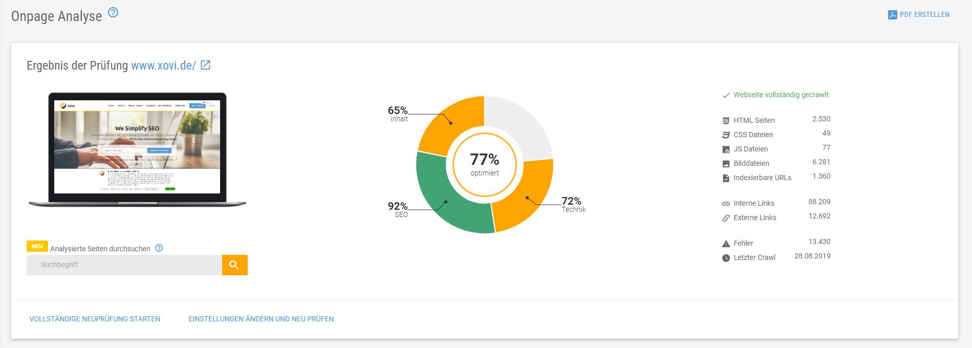 Ergebnise-Übersicht der XOVI Onpage Analyse
