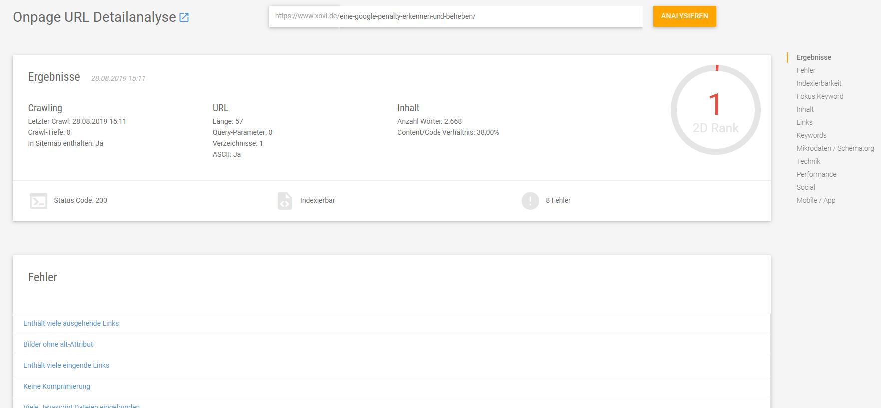 Analysiere einzelne URLs für eine zielgerichtete Optimierung deiner Inhalte
