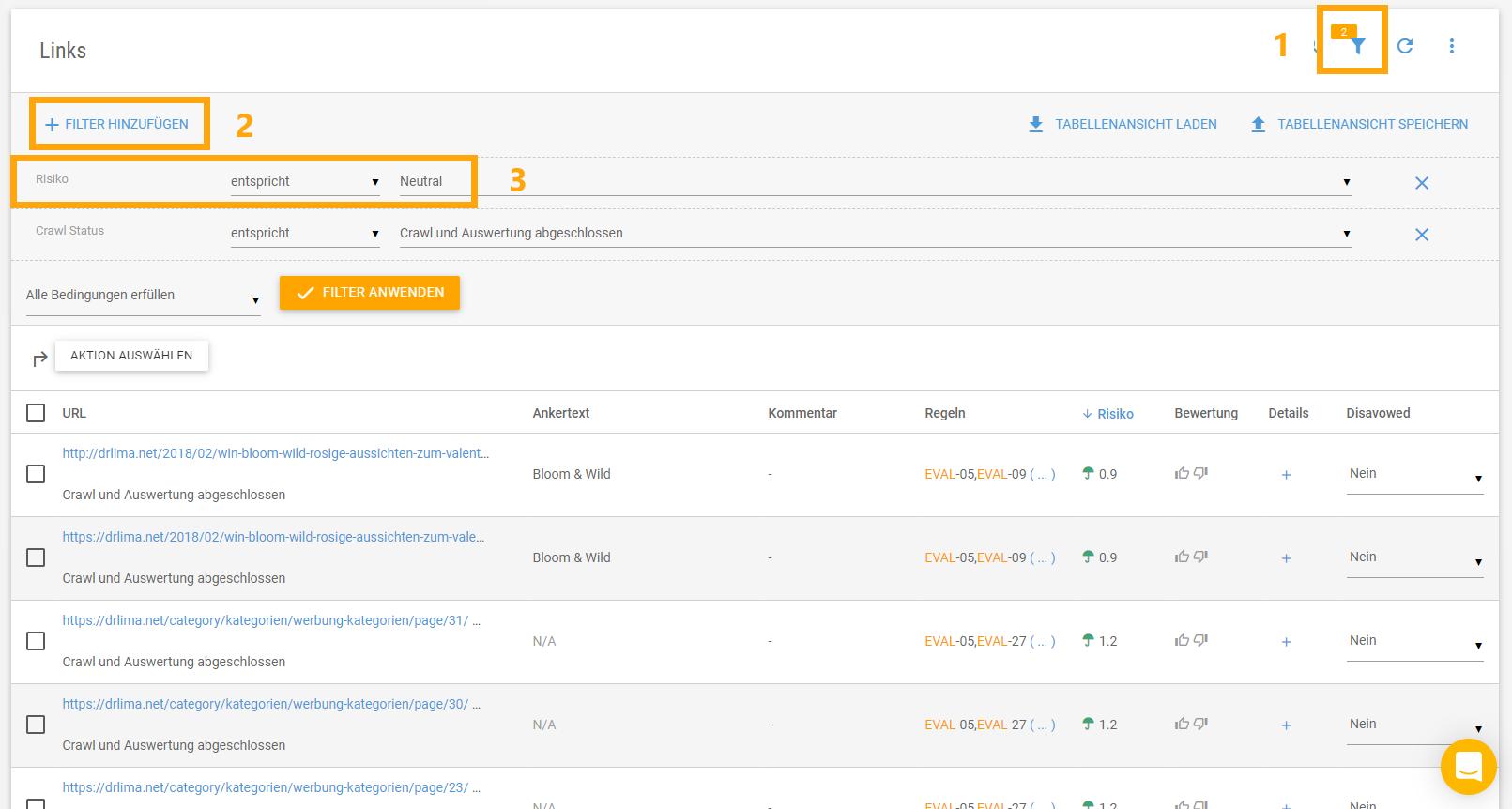 Filtern der Backlinks einer Domain nach neutralen Backlinks