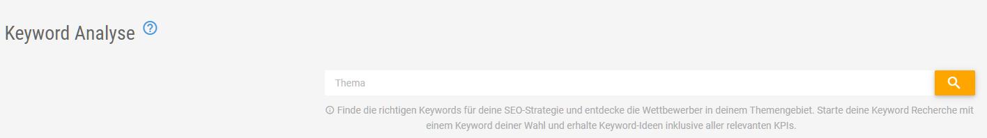 Keyword Analyse Suchschlitz