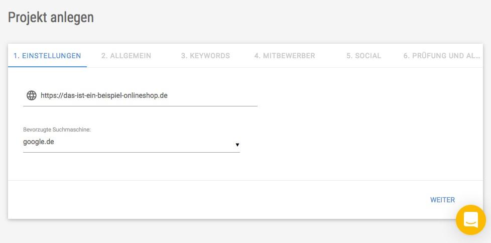 Screenshot der Eingabemaske zur projektanlage in der XOVI Suite