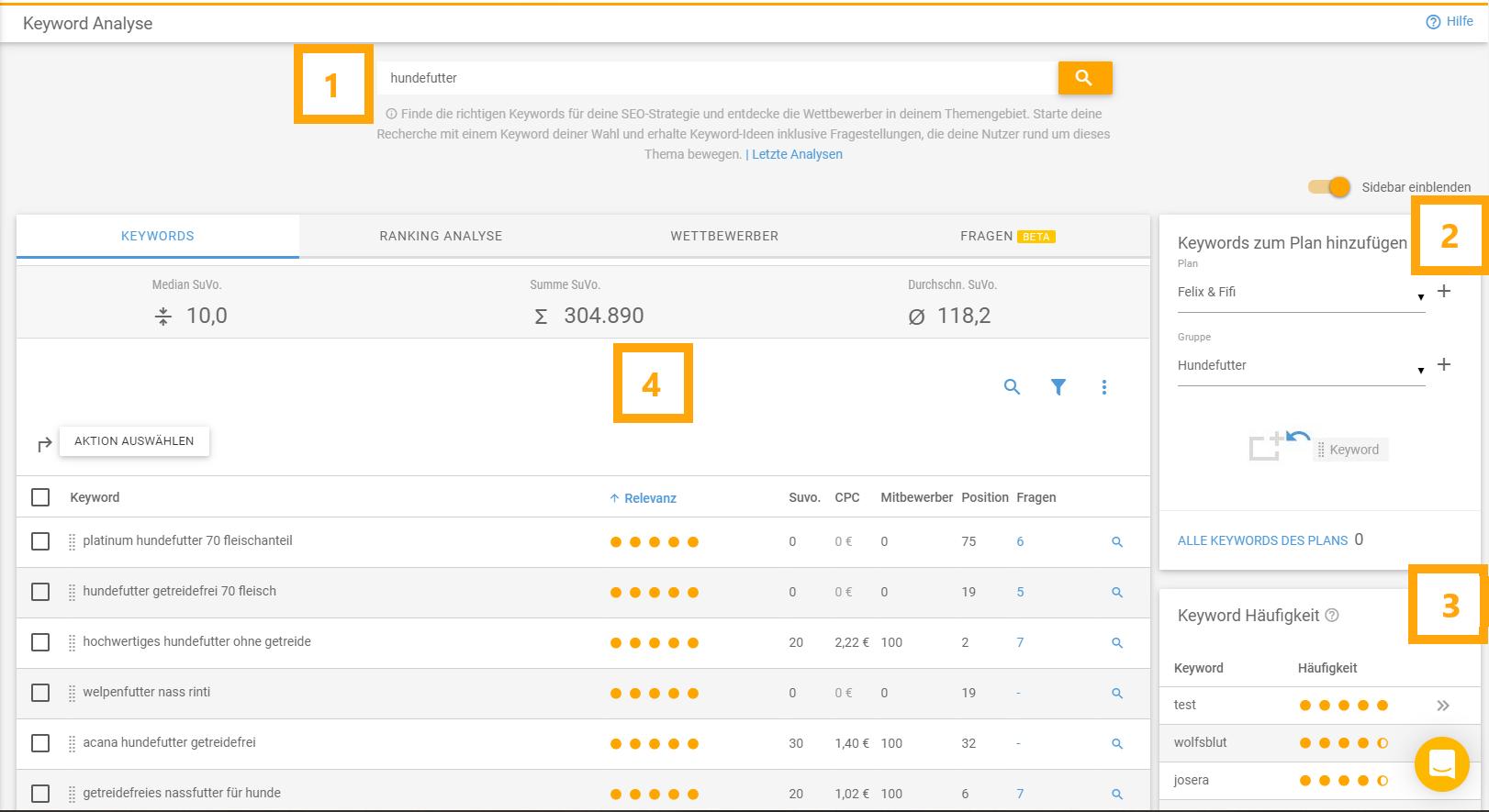 Screenshot der XOVI Keyword-Analyse mit den verschiedenen Elementen