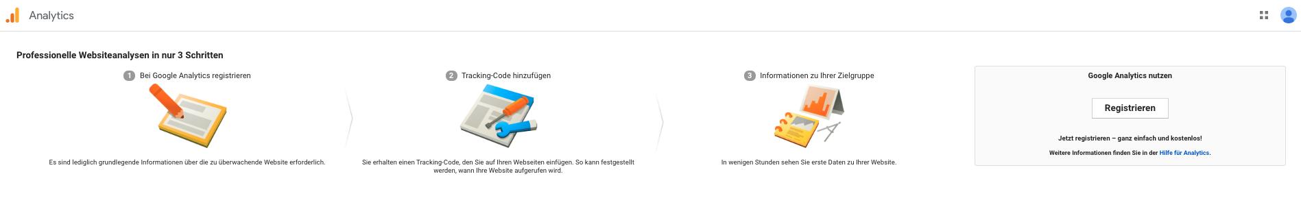 Schaubild der Einrichtungsschritte der Google Analytics Website