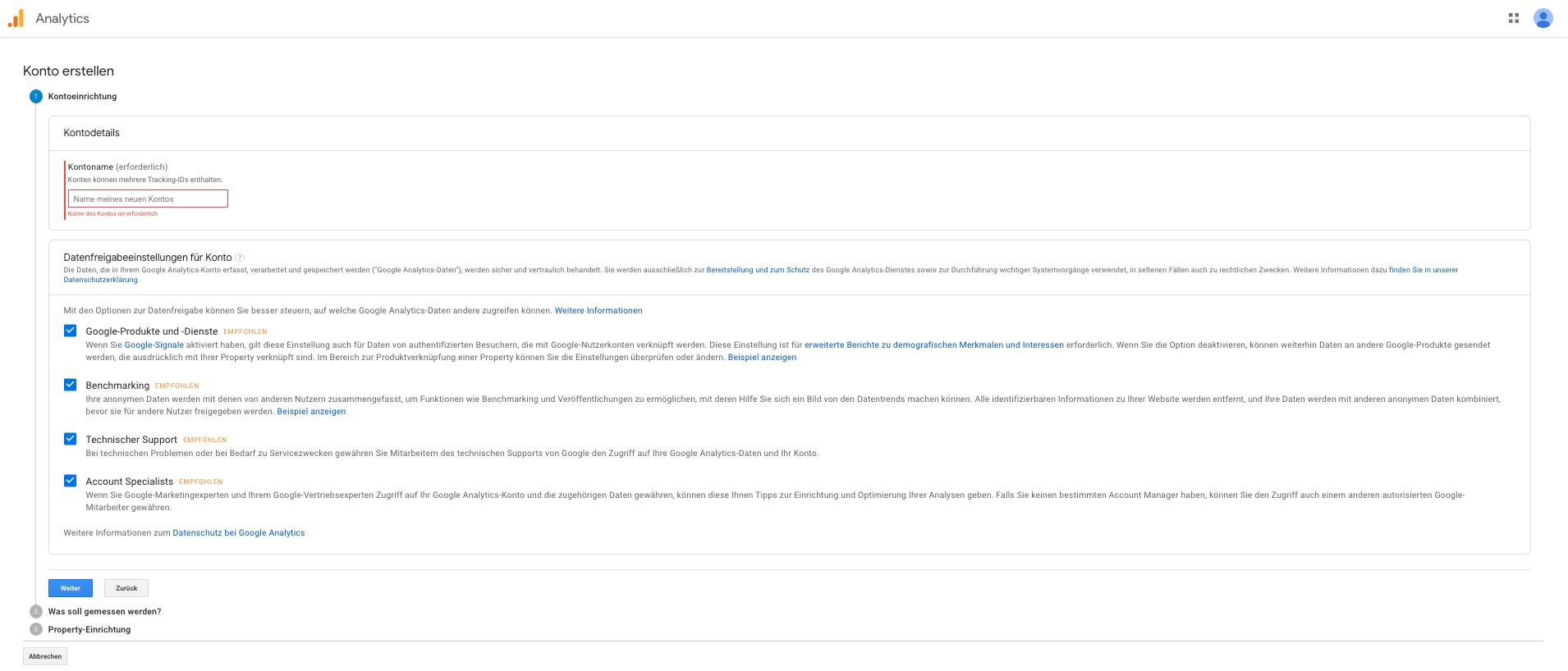 Screenshot: Abfragung benötigter Informationen