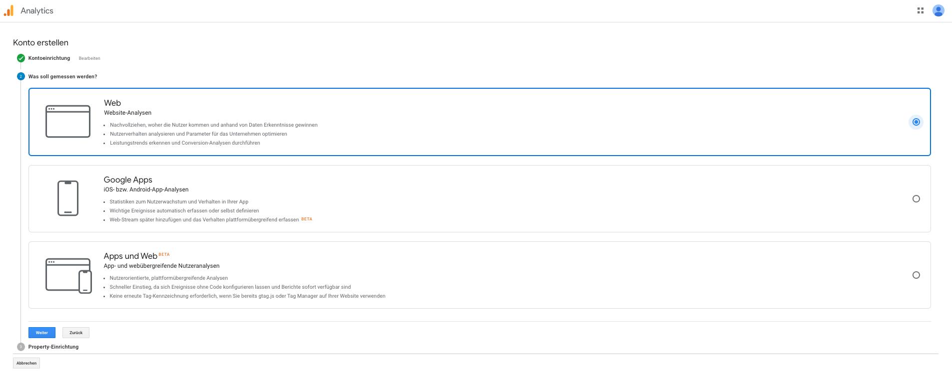 Screenshot: Abfrage, ob Web, Apps oder beides gemessen werden soll
