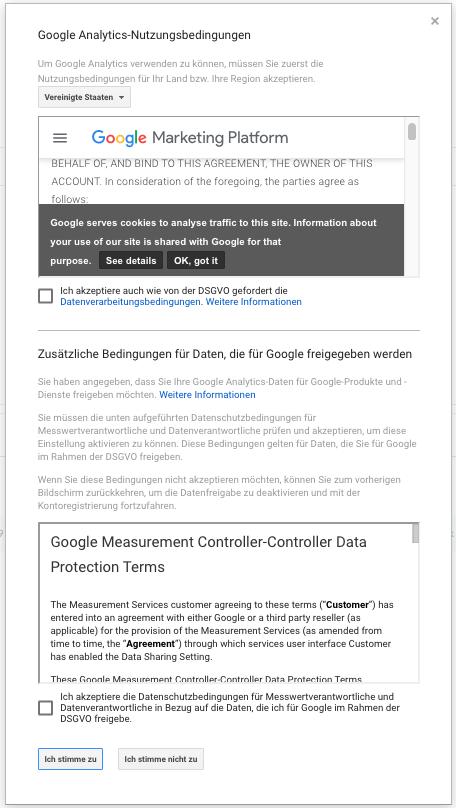 Screenshot: Nutzungsbedingungen akzeptieren