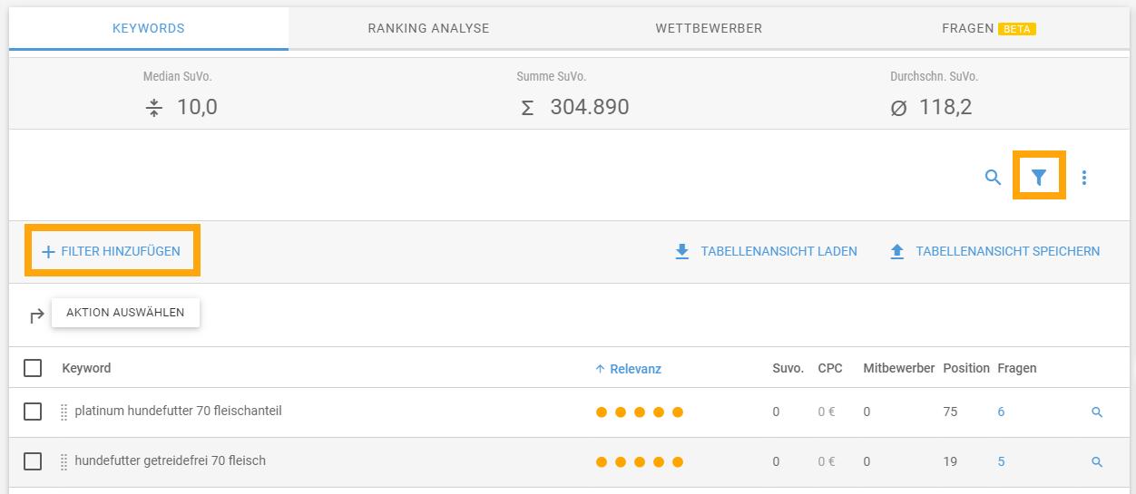 """Screenshot """"Filter hinzufügen"""" der XOVI Keyword Analyse"""