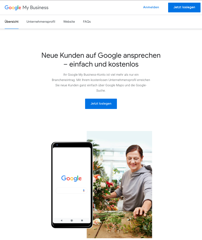 Auf google.com/business gehen und loslegen