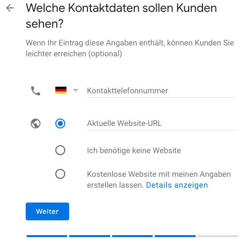 Kontaktdaten für Kunden angeben