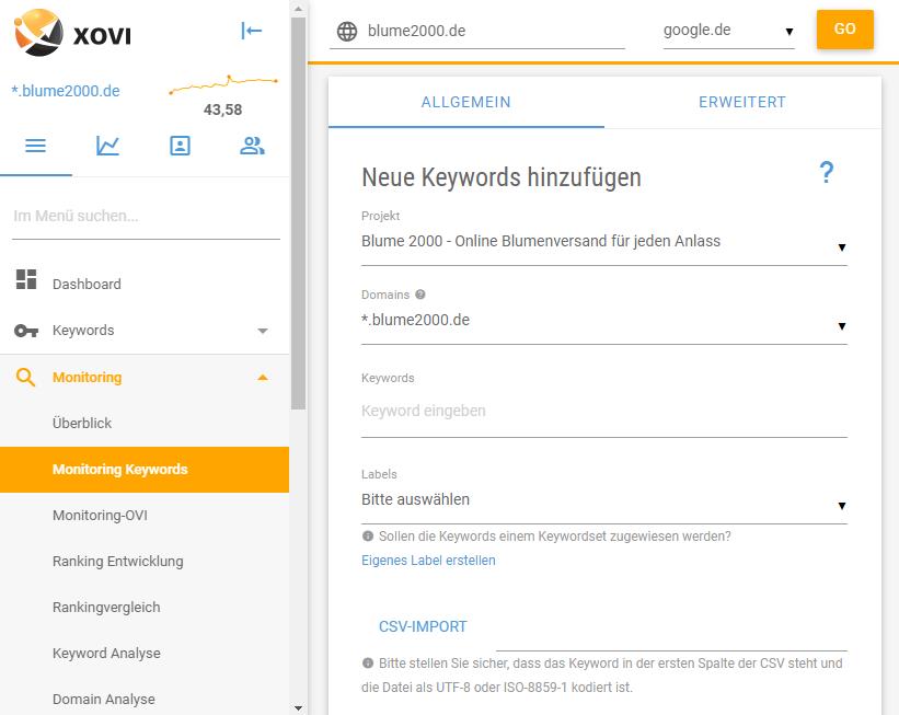 Screenshot des Keyword Monitoring der XOVI Suite: Neues Keyword hinzufügen