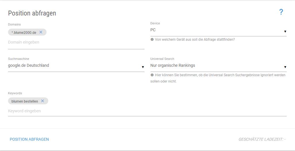 Screenshot der XOVI Suite beim Abfragen einer Domain zum Keyword Blumen bestellen
