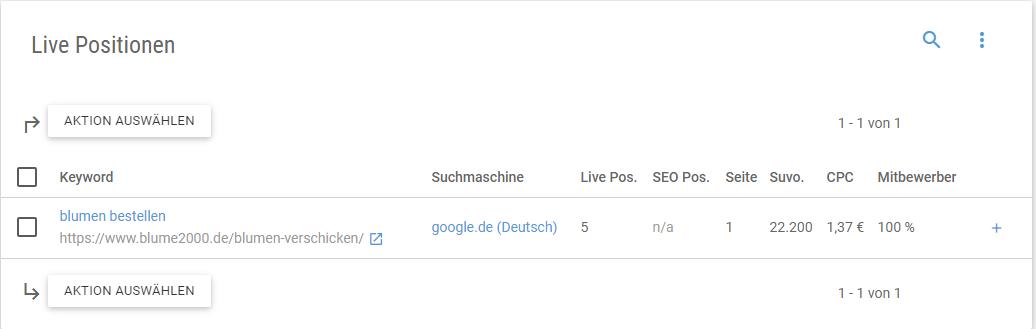 Screenshot der Anzeige der Live-Position einer bestimmten URL zu einem bestimmten Keyword