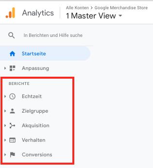 Screenshot der zur Verfügung stehenden Berichte Echtzeit, Zielgruppe, Akquisition, Verhalten und Conversions