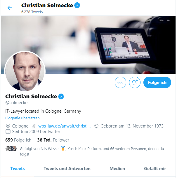 Screenshot des Twitter Kanals von Christian Solmecke