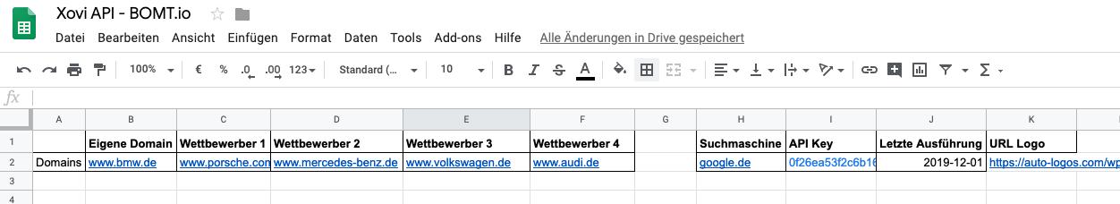 Google Tabelle als Grundlage für das SEO Dashboard