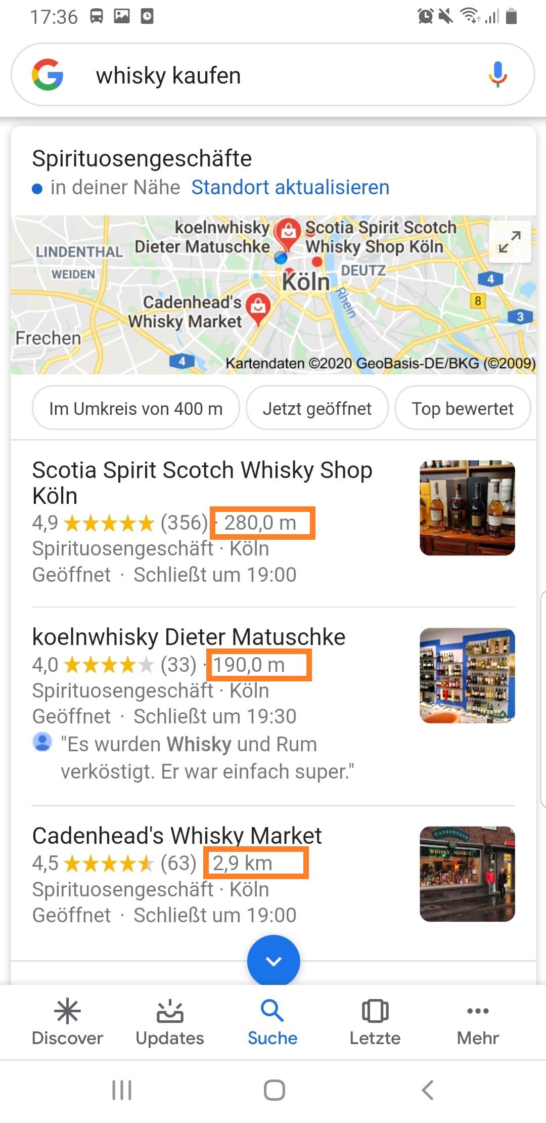 """Das """"Local Pack"""" (3 Google My Business-Einträge) zum Keyword """"Whisky kaufen"""" mit Ergebnissen in unmittelbarer Nähe"""