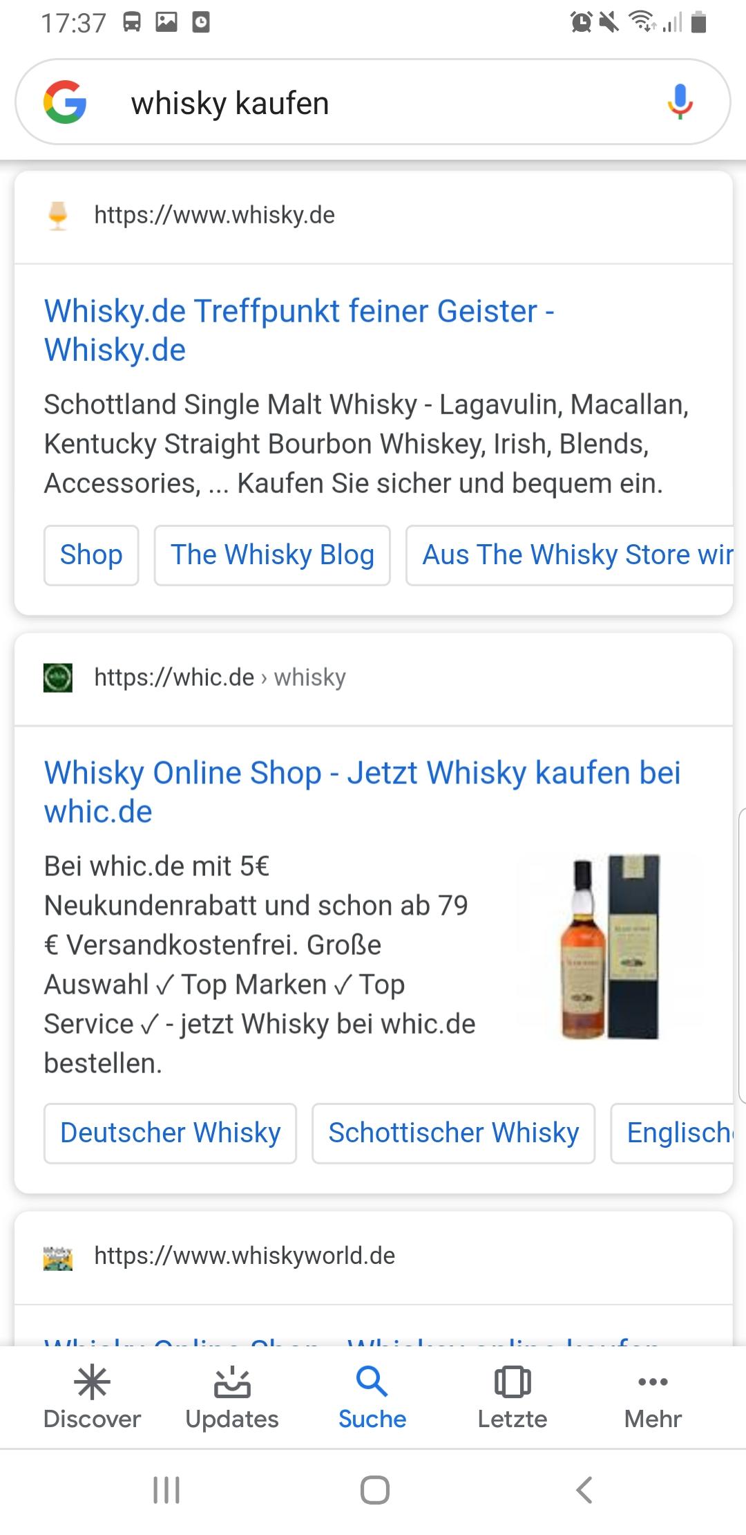 """Organische Suchergebnisse zu """"Whisky kaufen"""" haben keinen regionalen Bezug"""