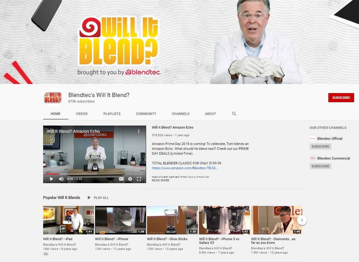 """Screenshot des YouTube Kanals """"Will It Blend"""" von BlendTec"""