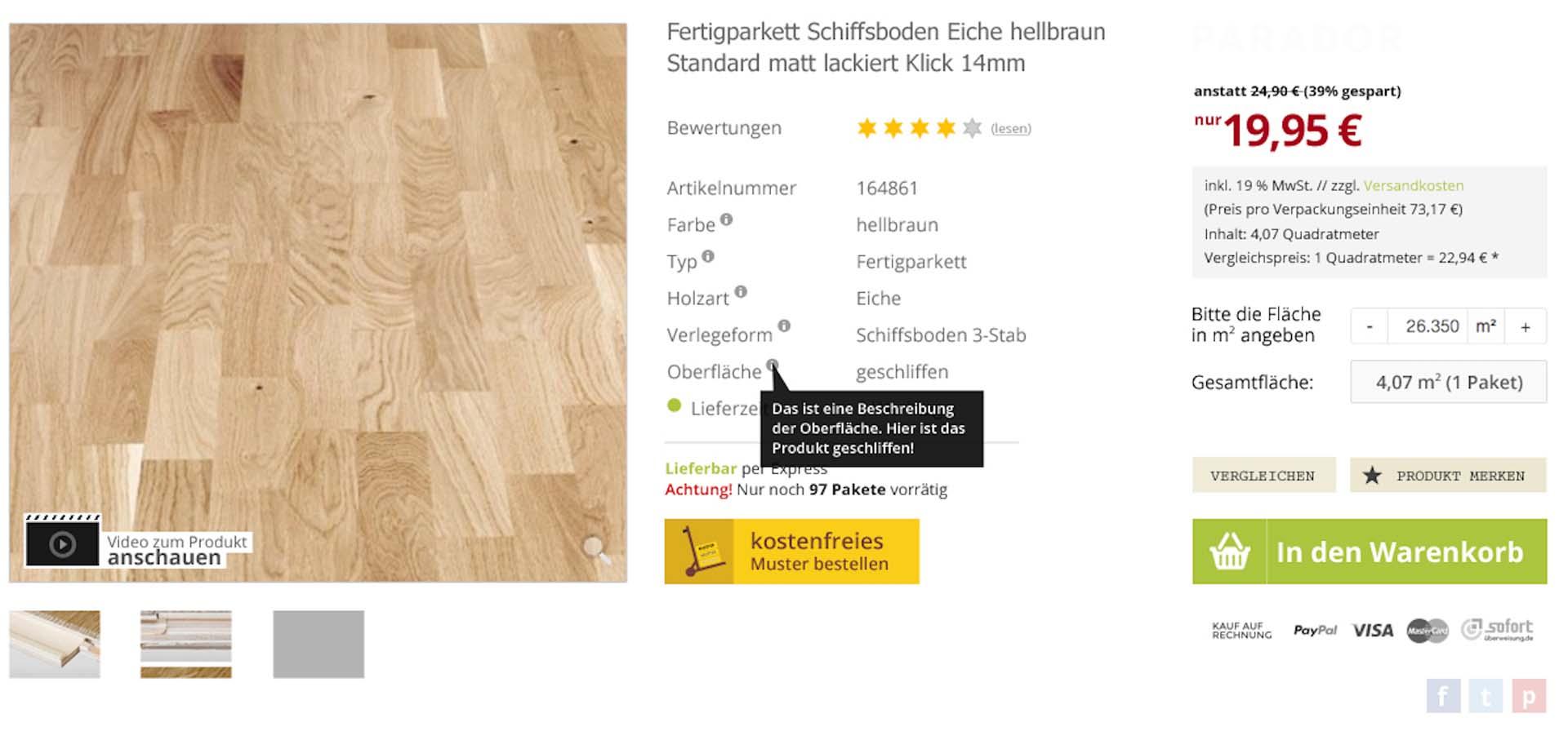 Produktseite Holzparkett von planeo