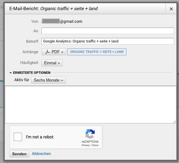 Screenshot: E-Mail-Bericht in Google Analytics anlegen