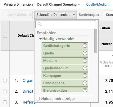 Screenshot Google Analytics: Dropdown sekundäre Dimensionen