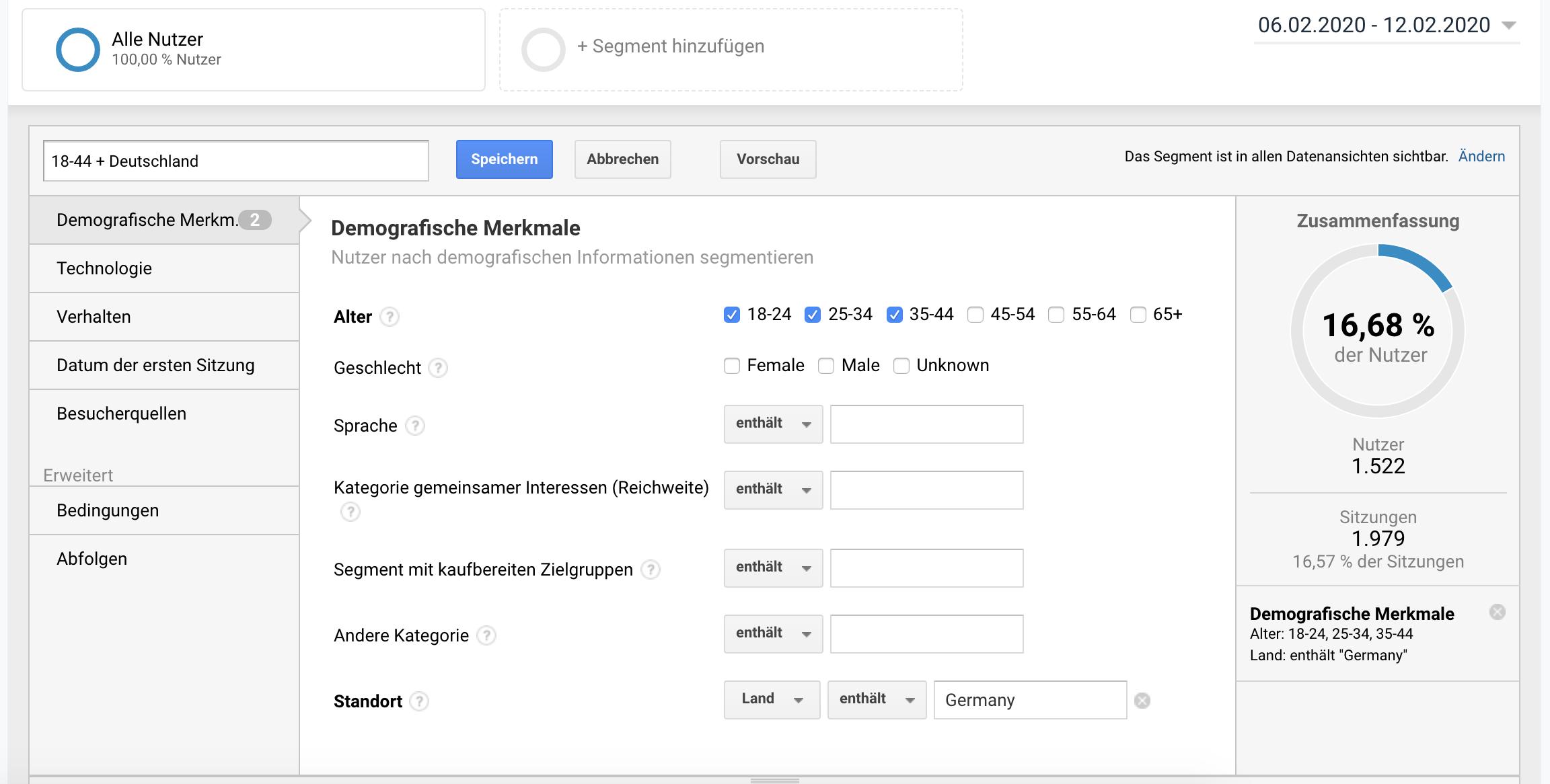 Google Analytics Segment für demographische Merkmale