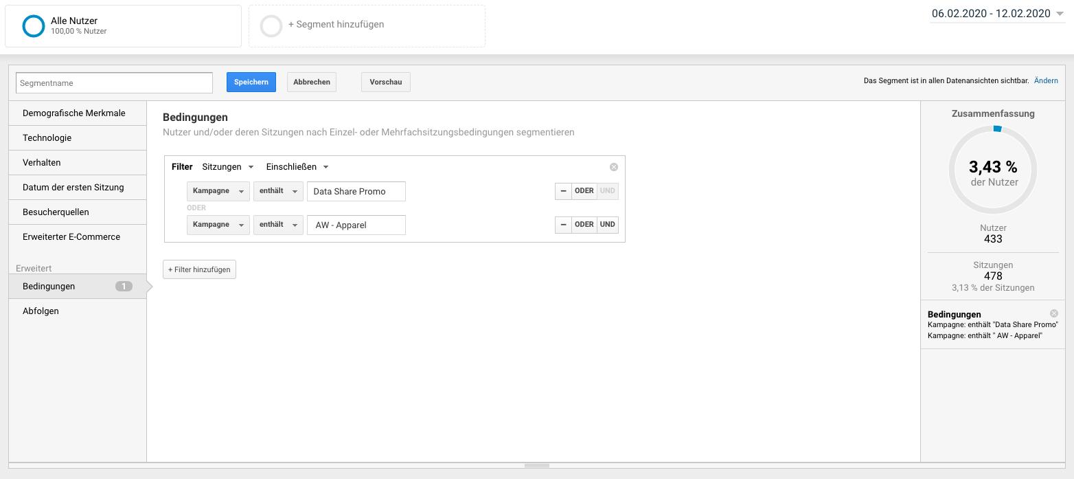 Screenshot: Bedingungen für ein neues Segment festlegen