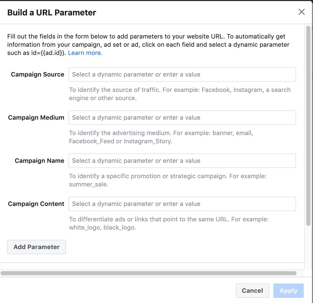 Screenshot UTM Builder von Facebook