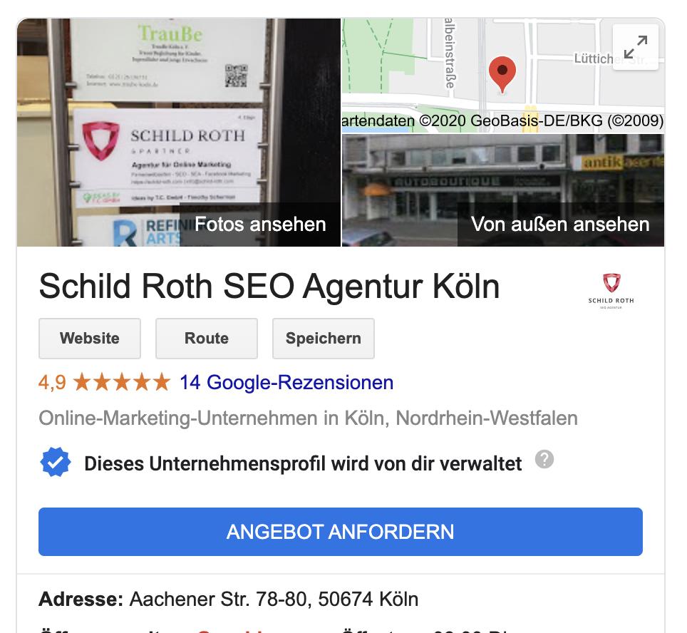 Screenshot des Google My Business Eintrags der Schhild Roth SEO Agentur Köln