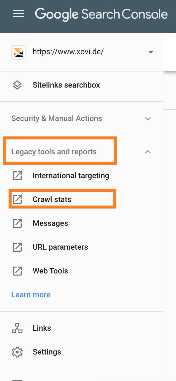Pfad zu den Crawl Stats in der Google Search Console