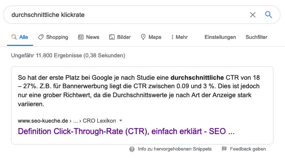 Screenshot eines Text Snippets der Google SERPs