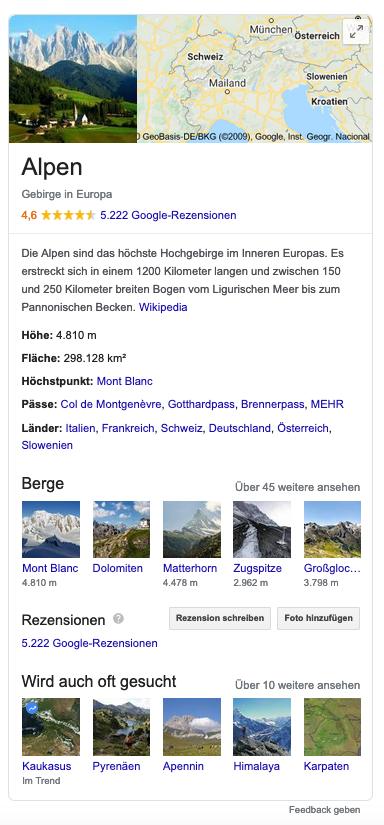 Screenshot eines Google Knowledge Graphs zum Thema Alpen