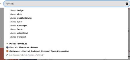 Screenshot des Auto-Suggest für die Suchbegriff-Eingabe bei Pinterest