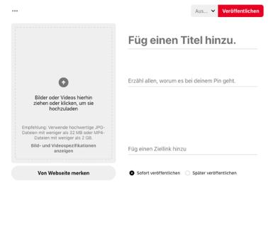 Screenshot der Eingabemaske für einen neuen Pin auf Pinterest