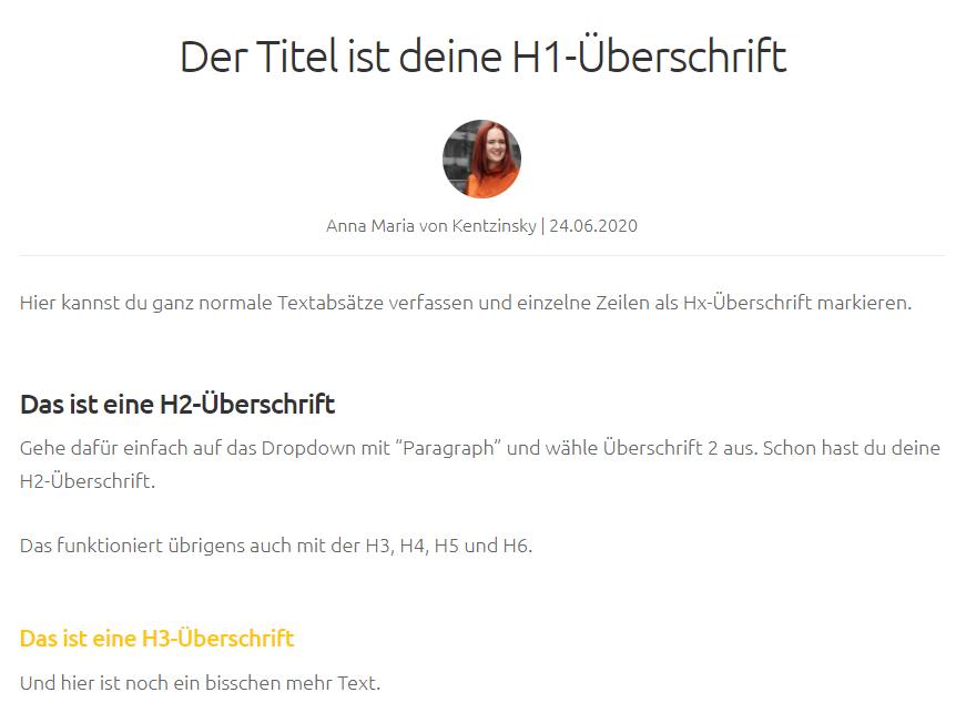 Screenshot Blog mit h1, h2, h3-Überschriften