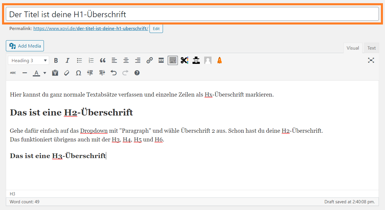Screenshot eines WordPress-Beitrags mit markierter h1-Überschrift im Backend