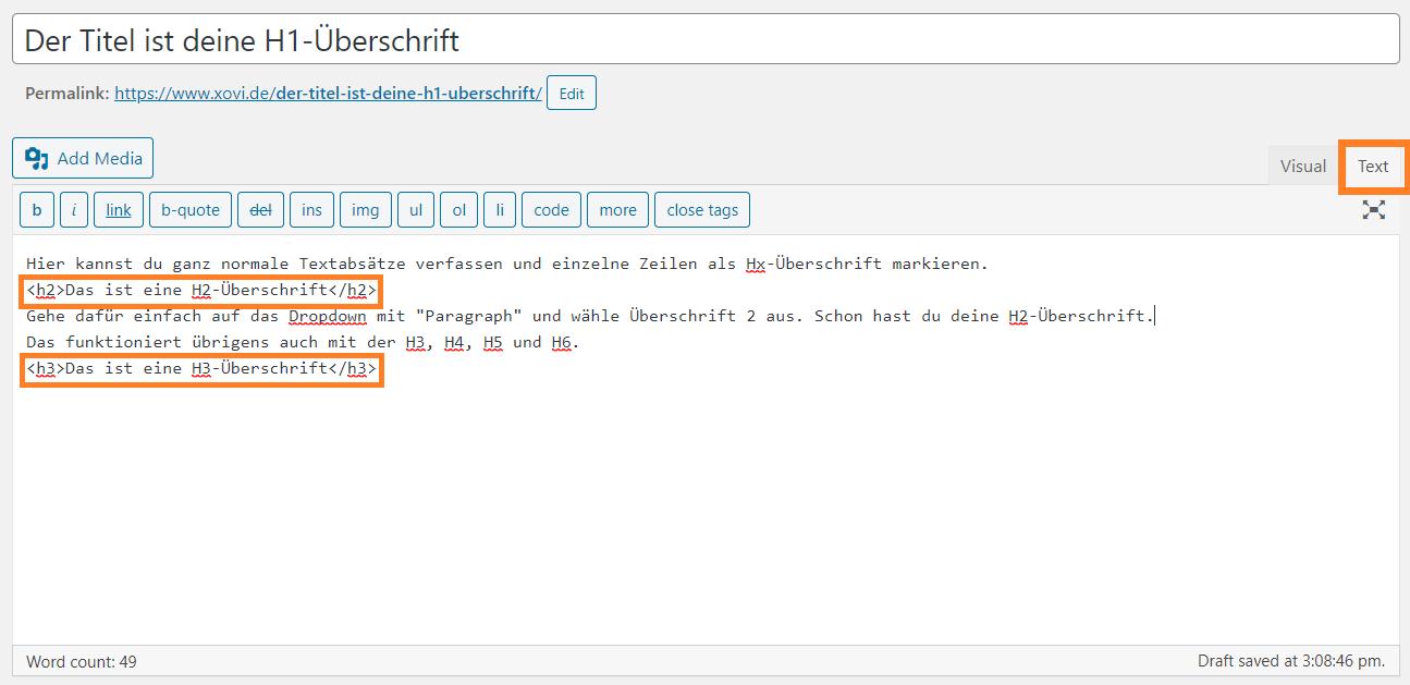 Screenshot eines Beitrags im WordPress CMS im Text-Editor