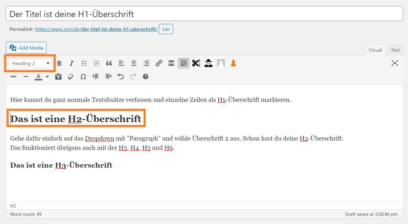 Screenshot eines Beitrags im WordPress CMS