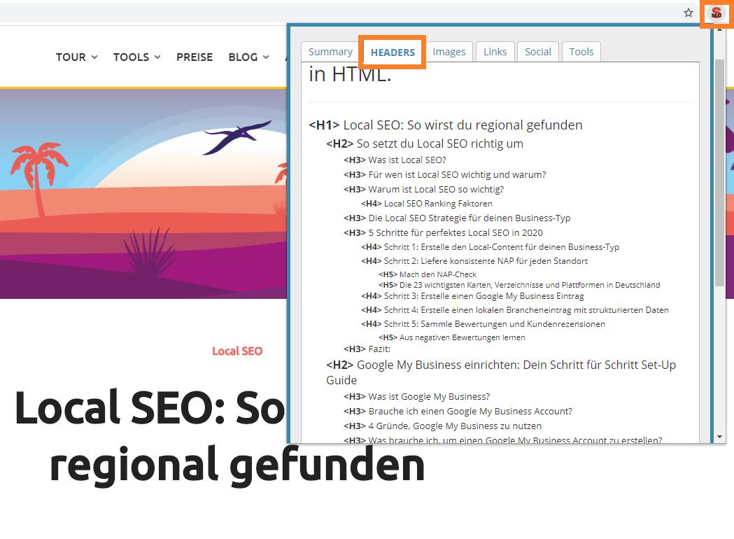 Screenshot der Überschriften-Analyse des Browser-Addons SEO META in 1 CLICK