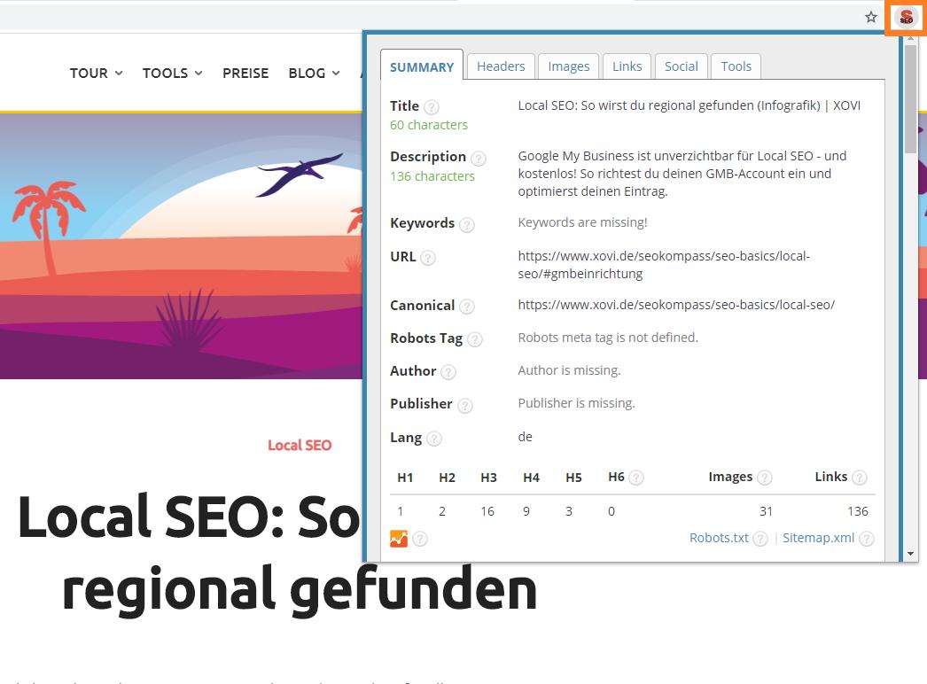 Screenshot der Seitenanalyse des Browser-Addons SEO META in 1 CKLICK