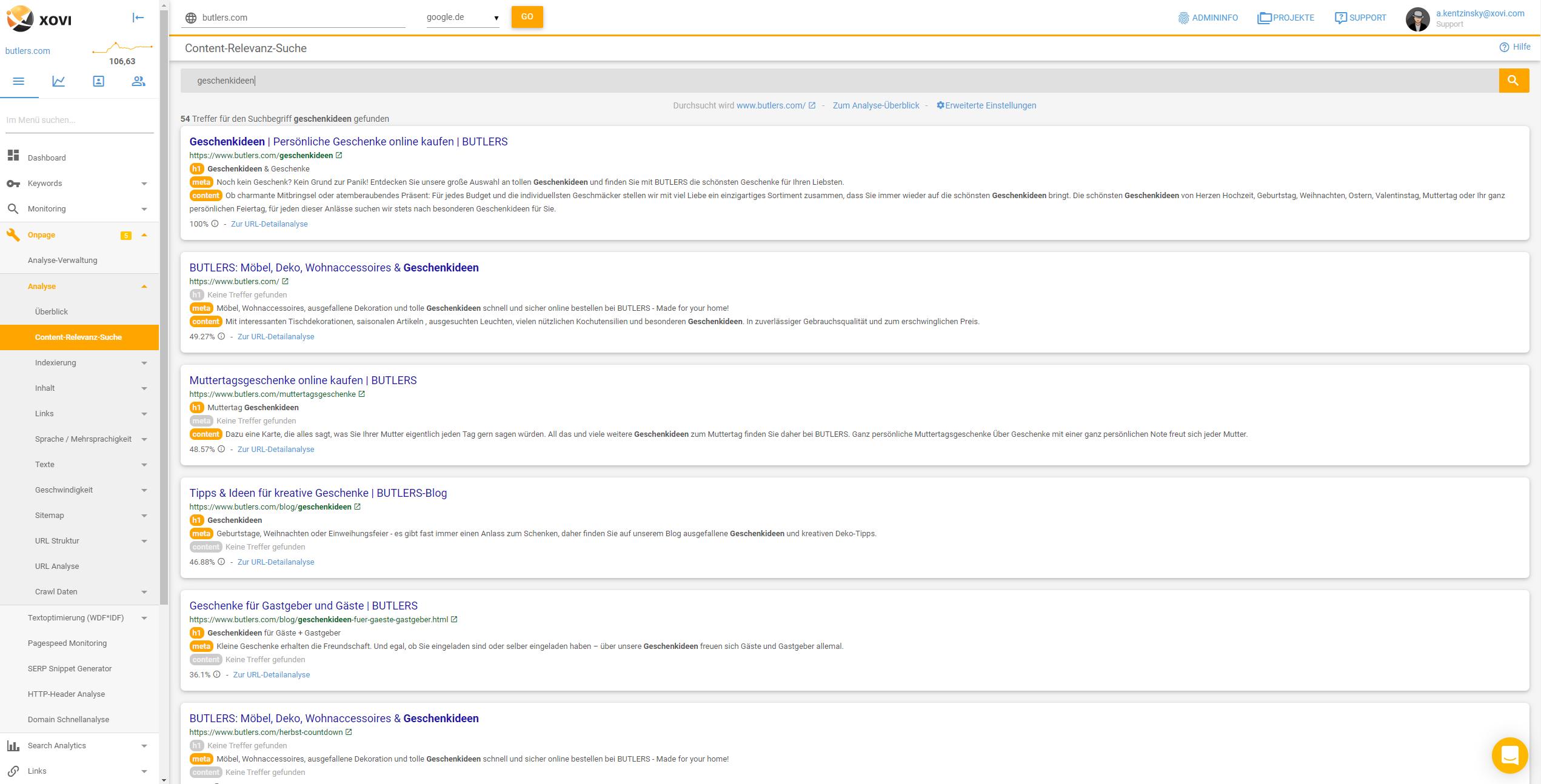 """Screenshot der Suchergebnisse interner Dokumente zum Keyword """"Geschenkideen"""""""
