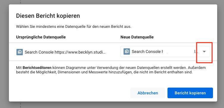 Screenshot des Dropdworn-Menüs bei der Anlage einer neuen Datenquelle in der Google Search Console