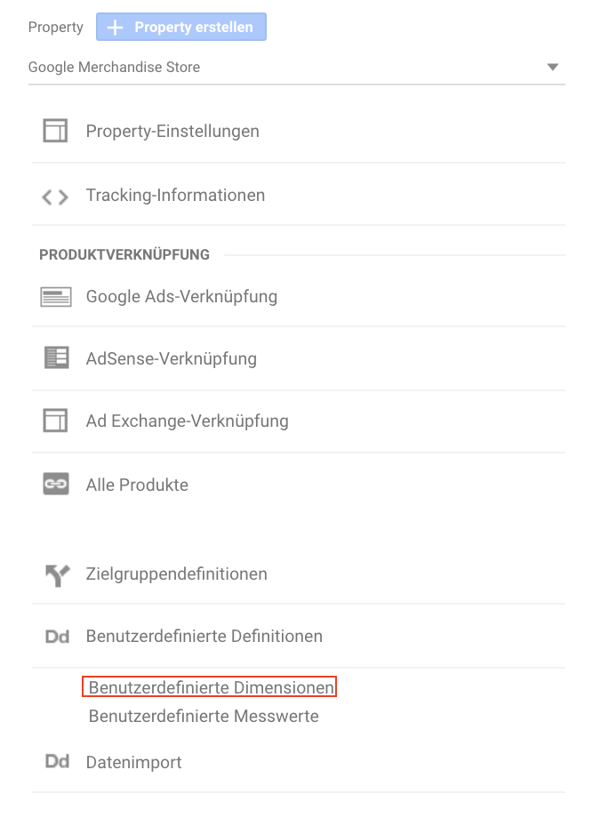 Screenshot der Navigation zu benutzerdefinierten Dimensionen in Google Analytics