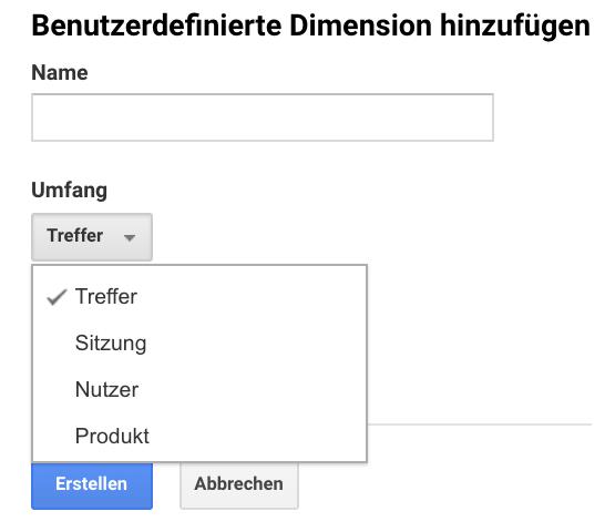 Screenshot der Ebenen-Auswahl bei der Einrichtung von benutzerdefinierten Dimensionen in Google Analytics