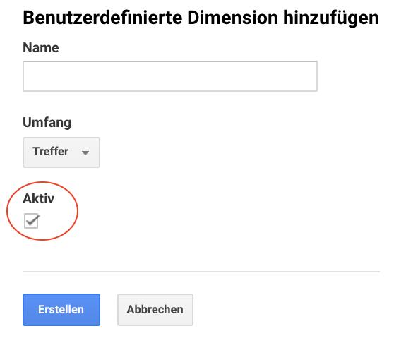 Screenshot der Aktivierungs-Checkbox von benutzerdefinierten Dimensionen in Google Analytics
