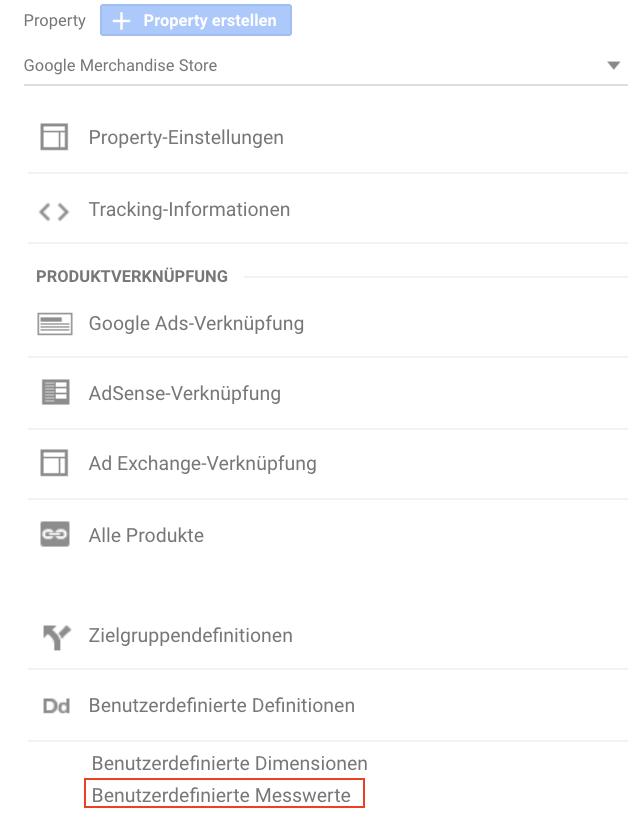 Screenshot der Navigation zu benutzerdefinierten Messwerten in Google Analytics