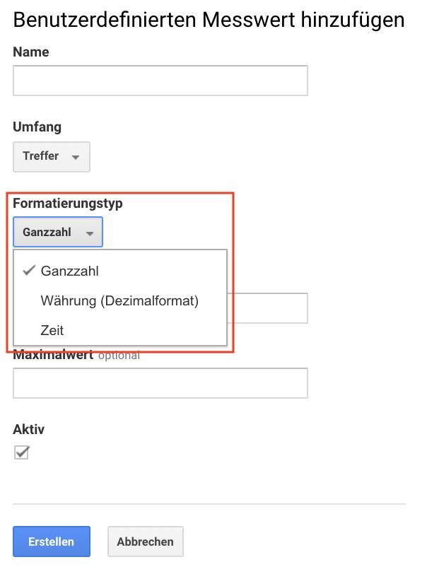 Screenshot der Formatierungstypen bei der Einrichtung benutzerdefinierter Messwerte in Google Analytics