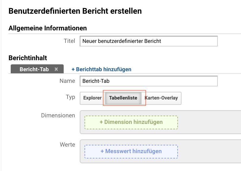 Screenshot der Erstellung von benutzerdefinierten Berichten in Google Analytics