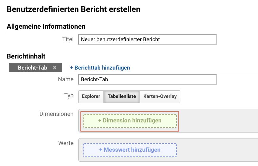 Screenshot vom Zufügen von Dimensionen in benutzerdefinierten Berichten
