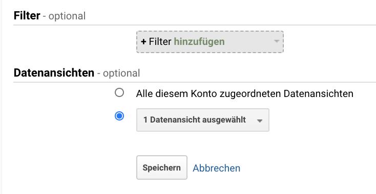 Screenshot der Zufügung von Filtern zu benutzerdefinierten Berichten in Google Analytics